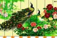 木居时代吧台酒柜隔断实木玄关柜手绘漆画屏风