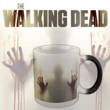 创意恐怖血手杯直身陶瓷变色杯僵尸变色杯保温马克杯可定制logo