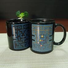 爆款现货批发陶瓷马克杯趣味吃豆子感温彩釉变色杯礼品水杯可定制logo