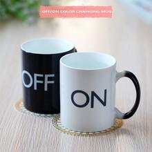 爆款开关感温杯创意直筒杯陶瓷变色杯办公马克杯咖啡饮料杯可定制logo