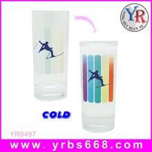 直筒感温冷变玻璃杯夏季冷饮专用玻璃杯商家活动定制杯可定制logo