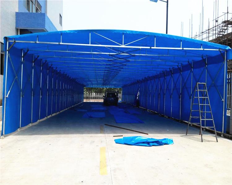 大排档广告帐篷大门伸缩雨棚户外活动帐篷轮式推拉雨蓬-无声雨蓬报