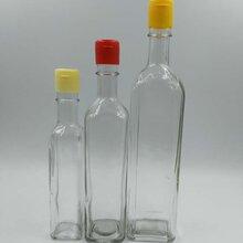配套塑料易拉盖的高白料高档四方芝麻油瓶,可人工压盖图片