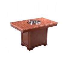 火锅餐桌椅定制众美德家具大理石长方形火锅桌火锅桌餐桌椅组合