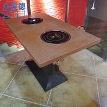 四人不锈钢火锅桌,大理石火锅餐桌,时尚无烟电磁炉火锅桌