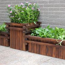 盆景花卉木质防腐木花箱户外景观木花箱防腐碳化处理图片