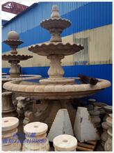 厂家直销成都石雕喷泉黄锈石水钵黄金麻喷泉石雕景观石雕图片