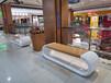 玻璃鋼休閑椅商場坐凳弧形仿實木休息椅定制廠批發現貨