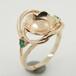 DIY首饰配件女圆珠戒托925纯银镀白金戒指空托蓝珀托宝石镶嵌个性定制