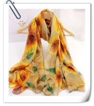 越缇纺织柔漫思向日葵时尚雪纺印花丝巾围巾批发直销