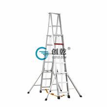 绳子抽拉工程梯子五米加厚人字伸缩梯广州创乾伸缩梯厂家CQS-5M人字梯子图片