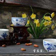 青花瓷茶碗单杯品茗杯陶瓷斗笠单杯