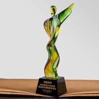 秦皇岛琉璃奖杯定制,婆娑起舞琉璃奖杯,舞蹈比赛奖杯,文艺表演奖杯图片