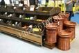 佛山高端木護檔水果盤隔板貨架擋板水果護欄鋼木結合拼接貨架水果護邊貨架廠家定做