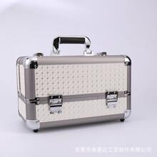 厂家直销化妆箱网格纹铝条化妆箱多层带镜易携带图片