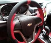专车专用头层牛皮方向盘套,3D打孔拼色方向盘套图片