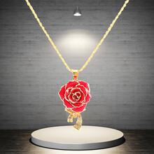 黛雅精品镀金玫瑰花吊坠天然玫瑰手工制作红色畅销款厂家批发图片