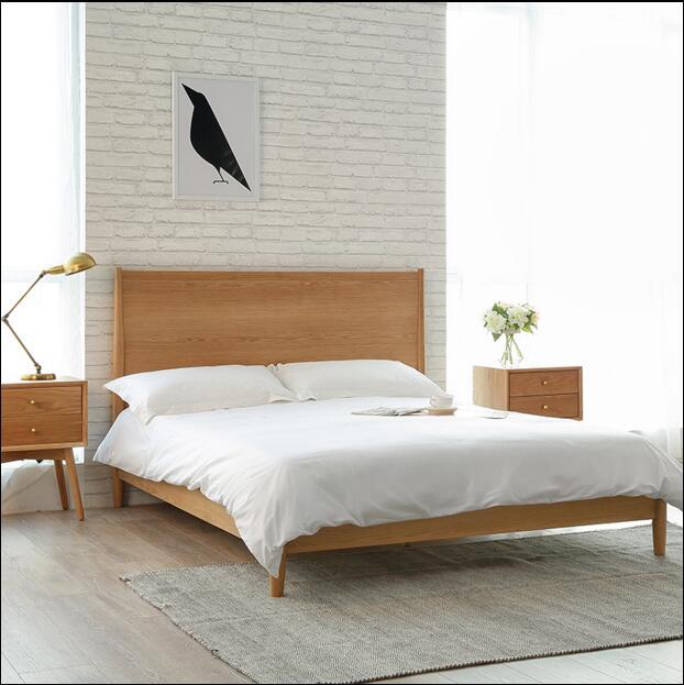 北欧现代简约风格白橡木床图片
