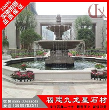 广场大型石雕喷泉石材黄锈石水钵优质小区水景景观雕塑图片