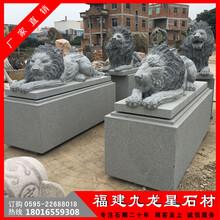石雕狮子批发现代欧式蹲狮一对福建惠安石雕厂家图片