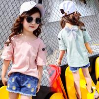 童装厂家低价批发,新款时尚童装纯棉T恤,库存尾货童装T恤清仓图片