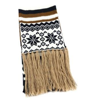 寧波景余帽子圍巾手套工廠針織圣誕雪花提花圍巾