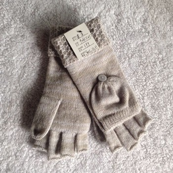 寧波景余帽子圍巾手套工廠翻邊半指翻蓋針織手套