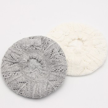 寧波景余針織帽子圍巾手套工廠蝴蝶結絞花鏤空針織貝雷帽