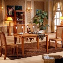 藤格格8046厂家批发藤餐桌椅组合餐厅成套家具长方形餐桌藤编实木餐椅组合5人餐桌椅