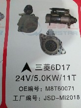 三菱6D16起动机24V4.5KW11TOEM:M3T56072。三菱6D17起动机。24V5.0KW11T.OEM:M8T60071图片