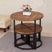美式创意铁艺茶桌茶几小圆桌子咖啡酒吧桌简约现代实木餐桌椅组合