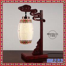 景德镇陶瓷中式灯具卧室书房实木青花瓷台灯送礼佳品图片