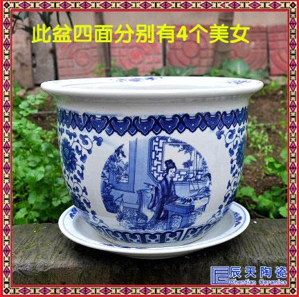 景德镇青花瓷出口陶瓷花盆花钵户外客厅桌面招财聚宝盆