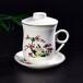 唐山亿美礼品盖杯骨质瓷泡茶杯子复古陶瓷方形杯子定制批发
