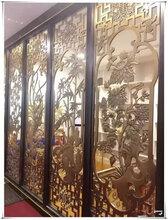 创意不锈钢屏风隔断墙设计玫瑰金镂空花格厂家