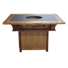 中式大理石火锅桌,一人一锅餐桌,现代火锅桌椅,深圳火锅家具厂