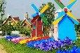 春季美景荷兰风车出租美丽炫彩风车展租赁出售