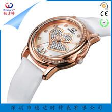 稳达时新款镶钻女士石英手表心形表面休闲时尚表真皮表带