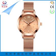 厂家直销时尚不锈钢石英手表电镀玫瑰金不锈钢网带可定制LOGO
