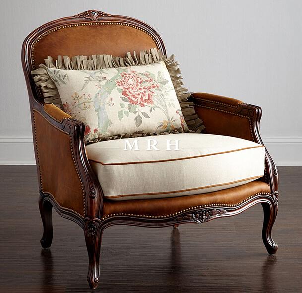 美若婳家具实木老虎椅美式乡村布艺单人沙发欧式小户型客厅卧室复古