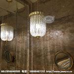 酒店客房鏡前燈,洗手間吊燈定制,洗手間金色水晶吊燈,客房衛生間燈具,客房鏡前燈定制
