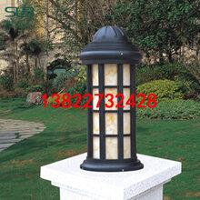 中式簡約柱頭燈定制電鍍拉絲特色草坪燈別墅小區單元墻頭燈圖片
