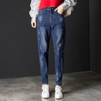浙江温州浅色宽松直筒裤女时尚卷边九分牛仔裤加绒加厚牛仔裤哪里有百搭时尚牛仔裤女