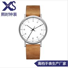 极简易复古手表英伦简约情侣手表配头层真皮带手表防水石英表