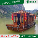 山西西安木船廠家熱銷10~20人座8米畫舫船出售中式電動觀光船餐飲船水庫船水上房船