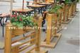 供应上海崇明公园木质花箱组合移动花车壁挂花架