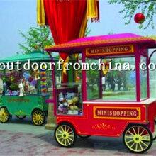 供应贵州黔南商业街木质售货车移动实木贩卖屋摆卖亭图片