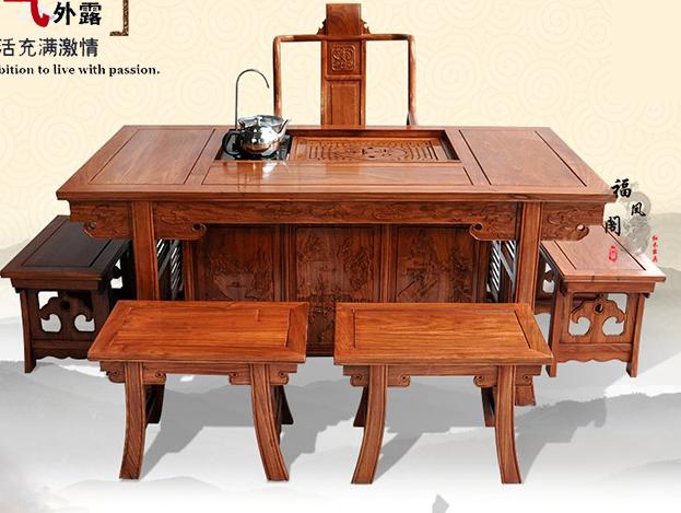 红木茶桌实木花梨原木家具功夫茶桌刺猬紫檀将军茶台
