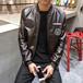 男式皮衣春季新款徽章PU皮衣夾克韓版修身青少年休閑男裝外套潮