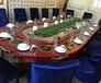 公司单位招待用餐桌办公用餐一体化桌子椭圆形电动餐桌厂家定制